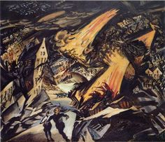Ludwig Meidner, a German-Jewish expressionist painter and printmaker was known for creating violent, apocalyptic images of a world descending into fiery chaos. Eerily, his paintings turned out to be. Sgraffito, Ludwig Meidner, Italian Futurism, The Beautiful And Damned, Art Graphique, Gravure, Les Oeuvres, Art History, Oil On Canvas