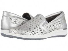 Walking Cradles Orleans Women's Slip on Shoes Silver Perforated Metallic Leather Black Slip On Sneakers Outfit, Women's Slip On Shoes, Buy Shoes, Women's Shoes, White Slip On Vans, Vans Outfit, Ladies Slips, Silver Shoes