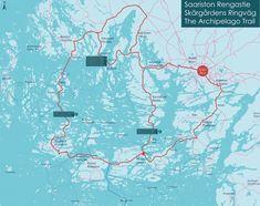 Map of the Archipelago Trail Joko, Varanasi, Malm, Archipelago, Finland, Trail, Places, Lugares