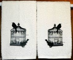 RAVEN BLACK BIRD AND CAGE - 2 EMBROIDERED HAND TOWELS by Susan