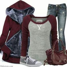 Lovin this casual football game night outfit Fall Winter Outfits, Autumn Winter Fashion, Winter Clothes, Casual Winter, Winter Wear, Look Fashion, Fashion Outfits, Red Fashion, Fall Fashion