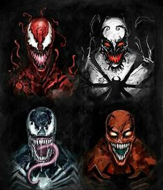 Symbiotes-Venom, Anti-Venom,and Carnage  The dangerous fiends