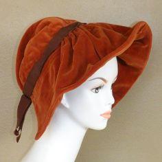 1930s 40s Hat, Ingrid Bergman Style Rust Velvet Wide Floppy Brim ...