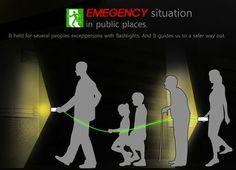 緊急時は緑LEDのロープでみんな一つの懐中電灯で逃げろ!