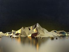 ローポリゴンで枯山水「禅の精神」を感じさせる、突き詰められた形状と色彩の静謐な世界
