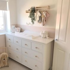HEMNES white stain, Chest of 8 drawers, cm. Sustainable beauty from sustainably-sourced solid wood. A traditional look combined with modern function like quiet, smooth-running drawers. Please attach to the wall. Nursery Decor Boy, Nursery Room, Girl Nursery, Nursery Ideas, Ikea Chest Of Drawers, Small Drawers, Closet Renovation, Small Nurseries, Drawer Fronts