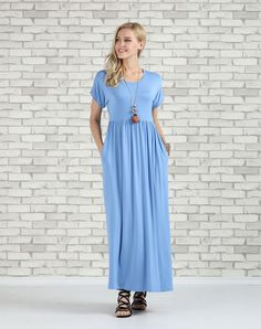 #VIPme Blue Pocket Empire-Waist Maxi Dress - Plus Too ❤️ Get more outfit ideas and style inspiration from fashion designers at VIPme.com.