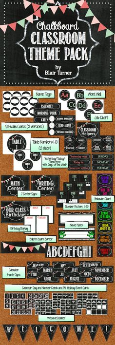 Deck out your classroom in chalkboard-themed cuteness! This classroom theme pack includes number posters, word wall letters, name tags, table numbers, schedule cards, welcome banner, center signs, behavior chart, bulletin board borders, and birthday display! $