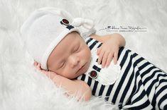 Newborn Boy Set: Navy striped overall & Ivory Sleepy hat Newborn Boy Clothes, Newborn Baby Photos, Baby Boy Photos, Newborn Photo Props, Baby Boy Newborn, Navy Stripes, Newborns, Navy And White, Boy Outfits