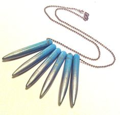 Silver Dipped Turquoise Spike Necklace by pinkavenger on Etsy