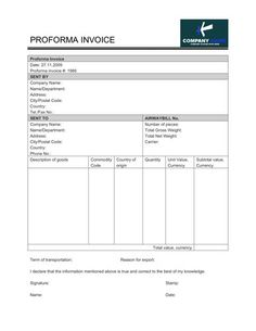 Free Performa invoice