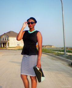 Black and white striped skirt #oldnavy http://www.asliceofglam.com/2013/05/outfit-black-white-striped-skirt.html