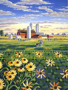 Painting ~ image of Black Eyed Susan quilt with farm scene in the background