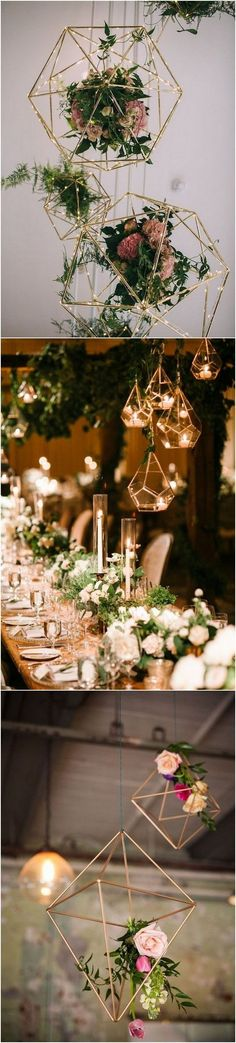 chic  geometric wedding hanging decoration ideas 2 #weddingdecor #weddingideas #weddinginspiration