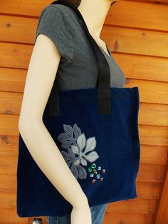 beautiful applique embroidered handmade tote with added rhinestones