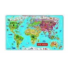 Janod 5490 - Magnet-Puzzle Weltkarte Deutsch 92 Teile