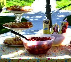 Strawberry shortcake bar! Great idea!   :)  I just may do this for a party this summer!