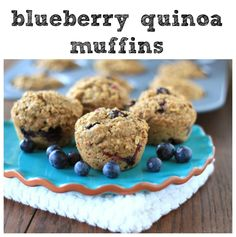 Blueberry Quinoa Muffins - refined sugar free and full of blueberries, quinoa, chia seeds, AND flax seeds! Healthy Cookie Recipes, Best Vegetarian Recipes, Peanut Butter Recipes, Healthy Cookies, Healthy Desserts, Baking Recipes, Vegetarian Dish, Muffin Recipes, Healthy Eats
