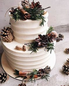 Winter Inspired Wedding Cakes — the bohemian wedding Winter Wedding Cakes wit. Winter Inspired Wedding Cakes — the bohemian wedding Winter Wedding Cakes with Rustic Details This image has get Wedding Cake Designs, Wedding Cake Toppers, Space Wedding, Monogram Wedding, Cake Decorating, Decorating Ideas, Wedding Planning, Wedding Ideas, Diy Wedding