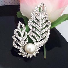 3 Inch Huge Vintage Style Clear Austria Crysal Imitation Pearl Leaf Design Women Brooch Best Gift Pin Brooches