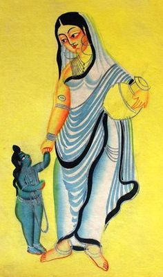 Goddess Sita and her son. Kalighat style, 19th c.