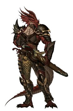 Half Red Dragon Dragonborn Fighter - Pathfinder PFRPG DND D&D d20 fantasy