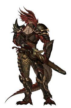 Half Red Dragon Dragonborn Fighter - Pathfinder PFRPG DND D&D d20 fantasy
