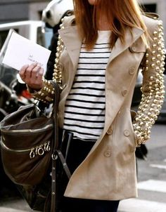 Studded Sleeves Trench by Fashion Crack