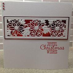 Sue Wilson poinsettia striplet die, SU joyful Christmas stamp 6x6 card