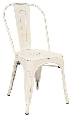 ASF-ERAT-337-DWH+Bistro+Style+Metal+Chair+in+Distressed+White+Finish