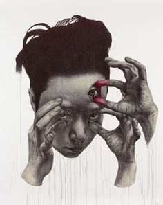 "Saatchi Online Artist: seungyea park; Pen and Ink, Drawing ""enforced insight"". Kinda creepy,  but an interesting concept"