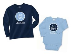 Big Brother Shirt, Big Brother Tshirt, Little Brother Onesie, Big Sister, Matching Sibling Shirts - Long Sleeves, SET OF 2