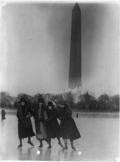 [Four girls ice skating, with Washington Monument in background] Library of Congress Old Pictures, Old Photos, Vintage Photos, Vintage Postcards, History Images, Women In History, History Pics, 4 Sisters, Ice Skating