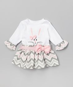 Take a look at this Caught Ya Lookin' Pink & Gray Zigzag Bunny Dress - Infant & Toddler today!