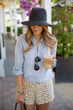 Gal Meets Glam- Chambray Top via Joie & Leopard Shorts via Equipment. She's got perfect weekend summer style!!
