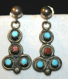 Turquoise and Sterling Silver Screw Back earrings Indians old 925 Vintage Native American Heishi Shell