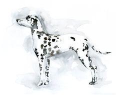 Custom Dalmatian Art - Watercolor Silhouette 8x10. $40.00, via Etsy.