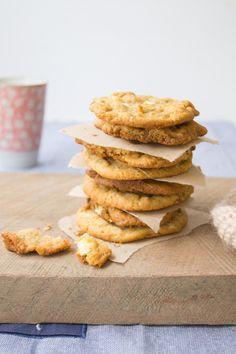 white chocolate, coconut & pecan cookies