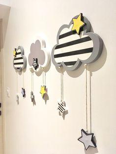 Décoration chambre enfant bébé mobile 3 nuages étoile : Décoration pour enfants par cha-choux