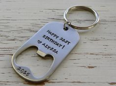 Bottle opener  Happy 21st birthday  by WhisperingMetalworks