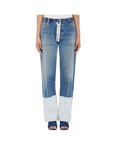 Off-White c/o Virgil Abloh | Blue Distressed Relaxed Jeans | Lyst