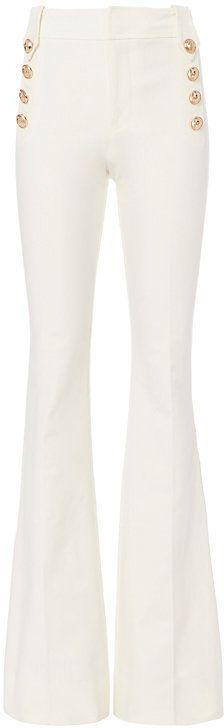 Derek Lam 10 Crosby Flare Sailor White Trousers
