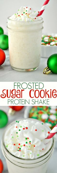 Sugar Cookie Protein Shake Frosted Sugar Cookie Protein Shake on Indulge in a sweet, thick, and creamy smoothie that only tastes decadent!Frosted Sugar Cookie Protein Shake on Indulge in a sweet, thick, and creamy smoothie that only tastes decadent! Protein Powder Recipes, Protein Shake Recipes, Protein Snacks, Diy Protein Shake, Vanilla Protein Shakes, Protein Desserts, Protein Powder Smoothies, Arbonne Shake Recipes, 310 Shake Recipes