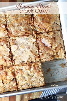 Banana Bread Snack Cake Recipe: Traditional banana bread is baked in a square pan and sprinkled with sugar to create a crunchy topping on this baked banana treat. #banana #bread #cake #baking #recipes