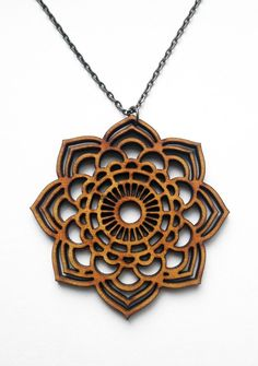 Mandala Statement Necklace Wood Necklace Laser Cut by alysonprete 19ec95ddee65