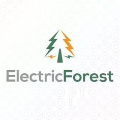 Logo Design of a pine tree made from electric symbols For Sale On StockLogos | Electric Forest logo