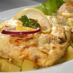 Sajt alatt sült halfilé Recept képpel - Mindmegette.hu - Receptek Hungarian Recipes, Diy Food, Fish Recipes, Ricotta, Thai Red Curry, Seafood, Healthy Living, Food And Drink, Chicken