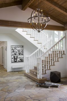 The entryway chandeliers are also from Lamps Plus: The Hudson Valley manufactured Bari chandelier in polished nickel was the perfect fixture to add some glamour to the California Ranch home. Chandelier Picture, Entry Chandelier, Chandelier In Living Room, Foyer Lighting, Ceiling Chandelier, Chandelier Ideas, Ceiling Fans, Lighting Ideas, Chandeliers