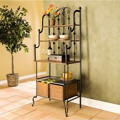 Traditional Five Shelves Baker's Rack With Two Rattan Storage Basket Kitchen Use