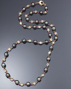 Assael | Assael Moonstone, Ruby, and Tahitian Pearl Necklace